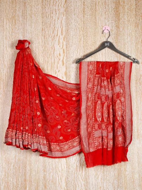 Red Designer Bandhej Saree For Wedding