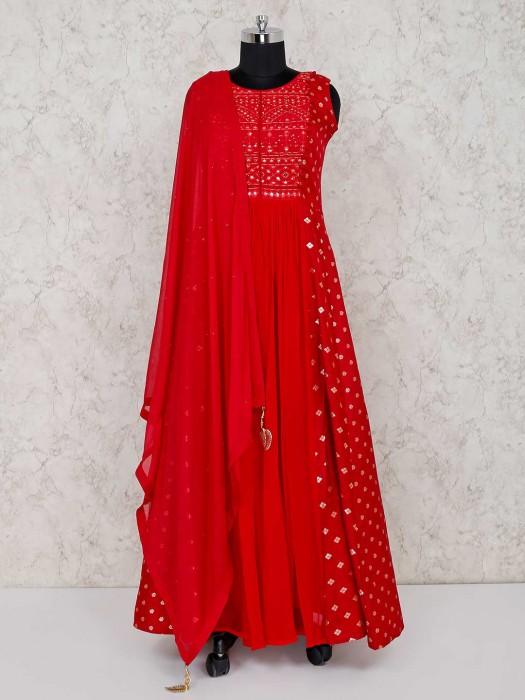 Red Designer Georgette Anarkali Suit In Wedding