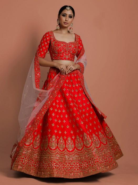 Red Designer Silk Lehenga Choli In Bridal Wear