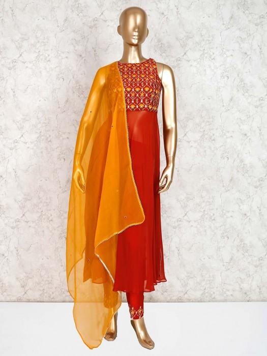 Red Geoegette Designer Pant Design Salwar Suit