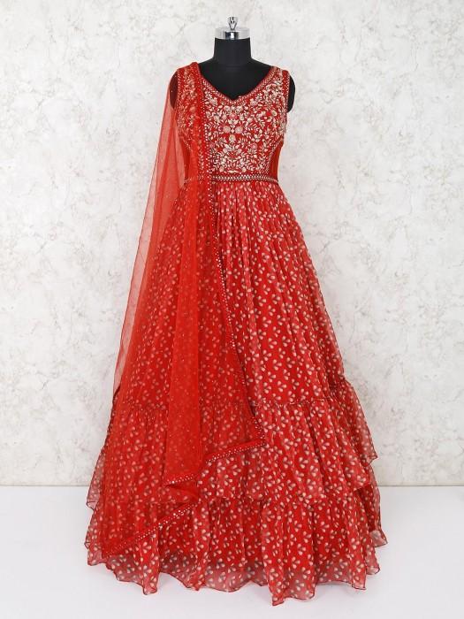 Red Georgette Designer Layer Style Anarkali Salwar Suit