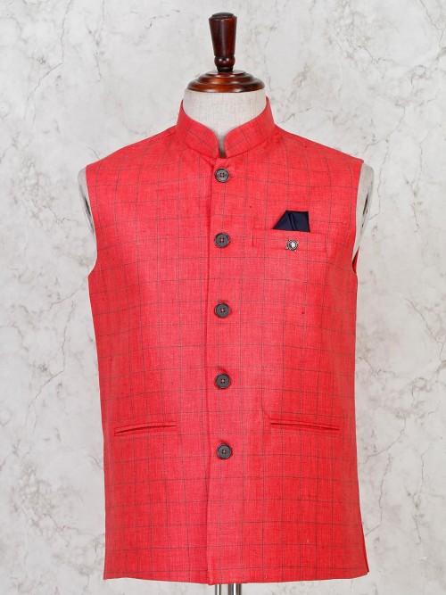 Red Hue Checks Printed Cotton Waistcoat