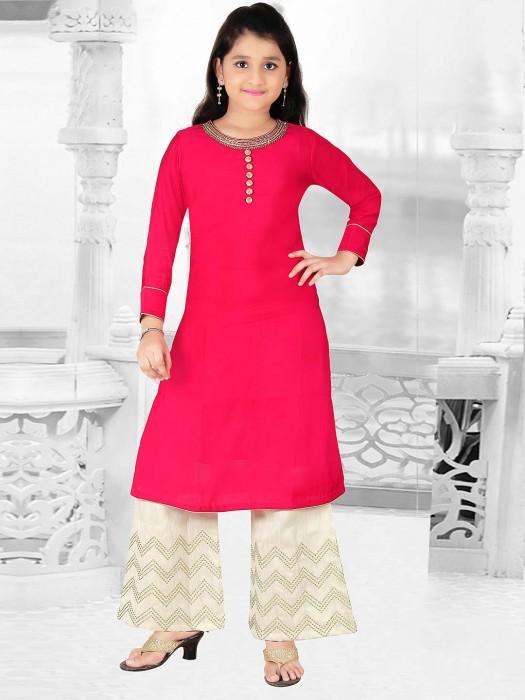 Red Hue Cotton Silk Punjabi Palazzo Suit