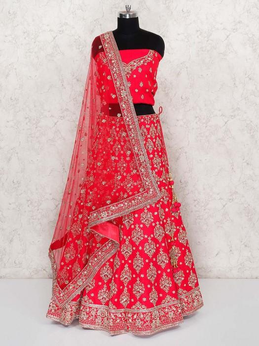 Red Hue Silk Fabric Bridal Semi Stitched Lehenga Choli