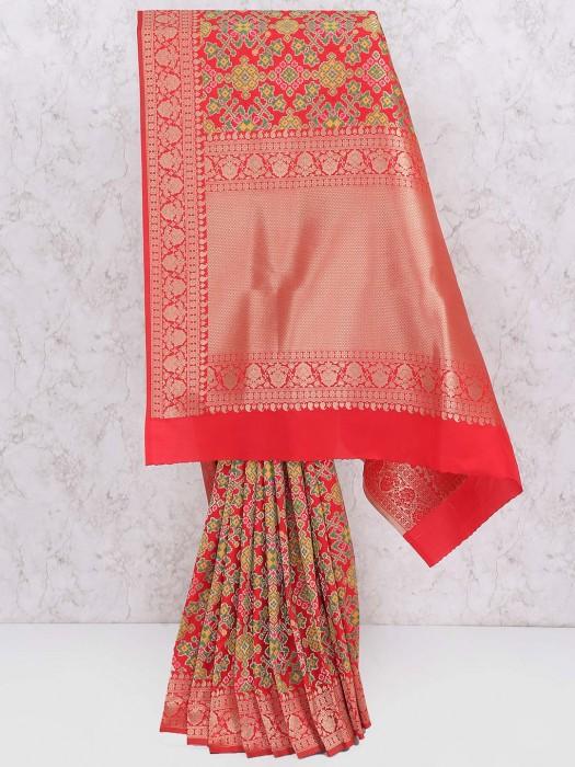 Red Hue Wedding Wear Printed Saree