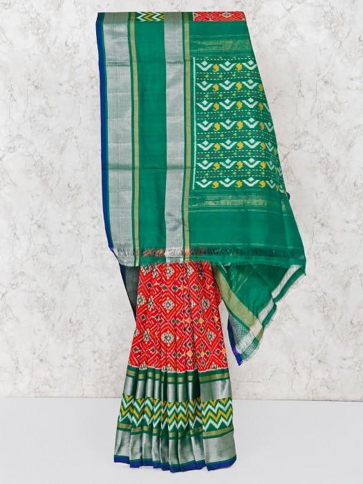 Red Hydrabadi Patola Silk Saree For Wedding