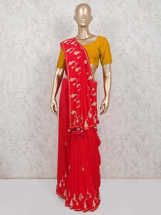 Red Satin Saree In Wedding Function