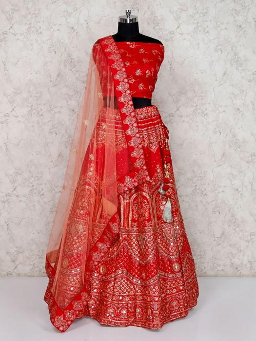 Red Semi Stitched Bridal Lehenga Choli In Silk With Foil Print