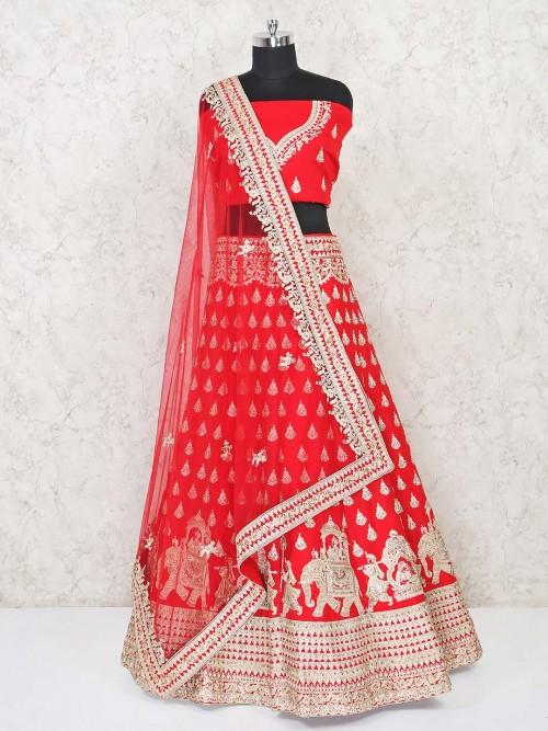 Red Semi Stitched Lehenga Choli For Bride In Silk