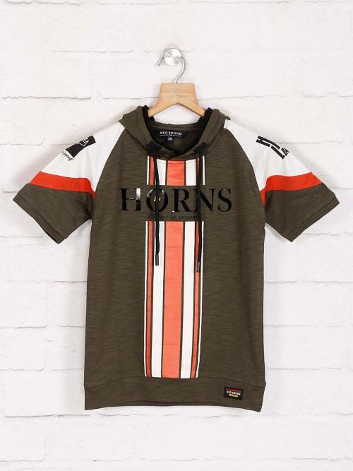 Red Sound Olive Stripe Cotton T-shirt