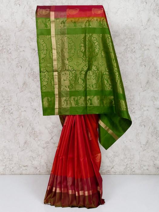 Red South Silk Beautiful Wedding Wear Saree
