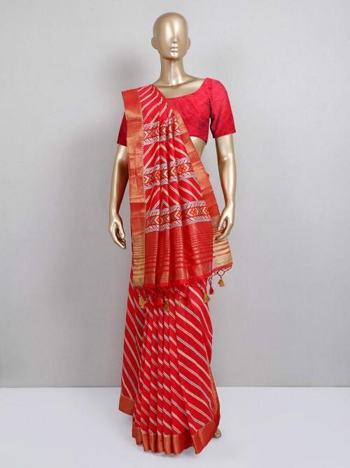 Red Stripe Cotton Silk Saree For Festival