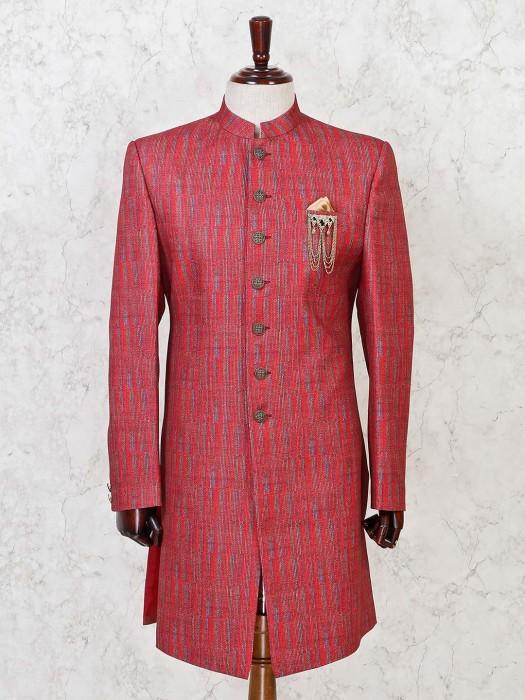 Red Terry Rayon Wedding Wear Indo Western