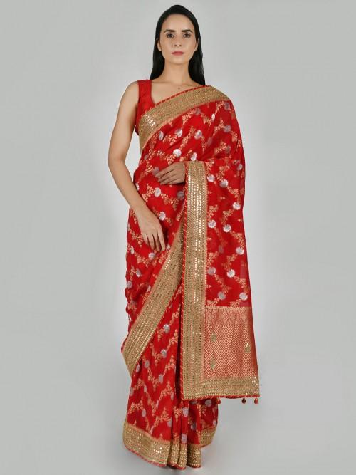 Red Wedding Function Saree In Art Khadi Silk