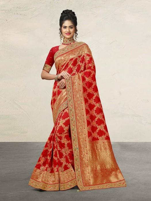 Red Wedding Saree In Banarasi Silk