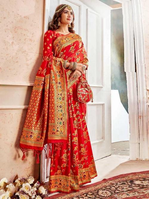 Red Wedding Wear Saree In Banarasi Silk