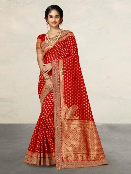 Red Wedding Wear Silk Sari