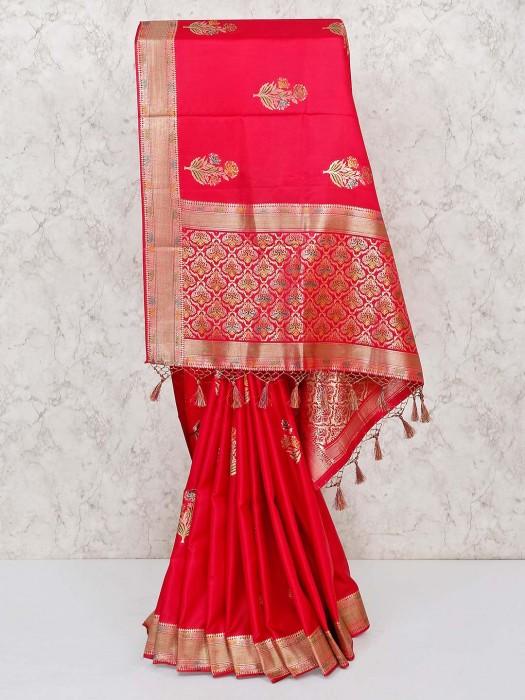 Red Zari Weaving Silk Saree