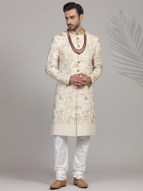 Refined Thread Woven Silk Sherwani In Cream