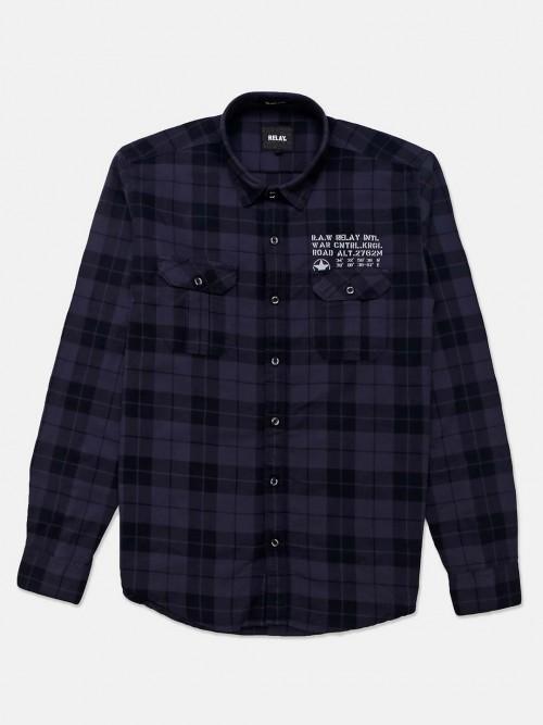 Relay Navy Checks Full Sleeves Shirt