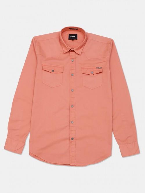 Relay Peach Casual Wear Solid Shirt