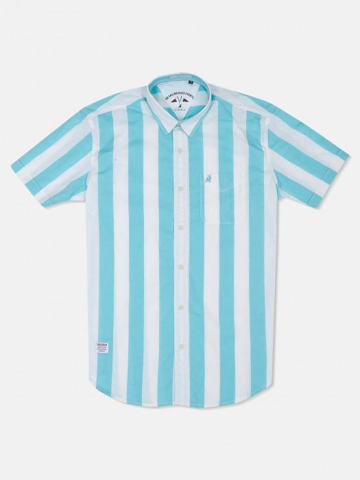 River Blue Aqua And White Stripe Shirt