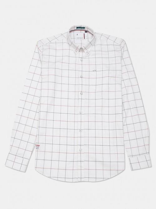 River Blue Casual Wear White Checks Shirt