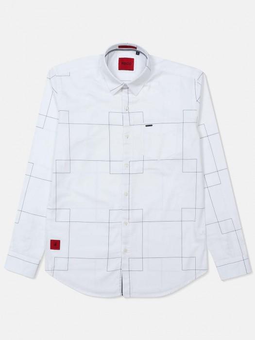 River Blue Checks White Slim Collar Shirt