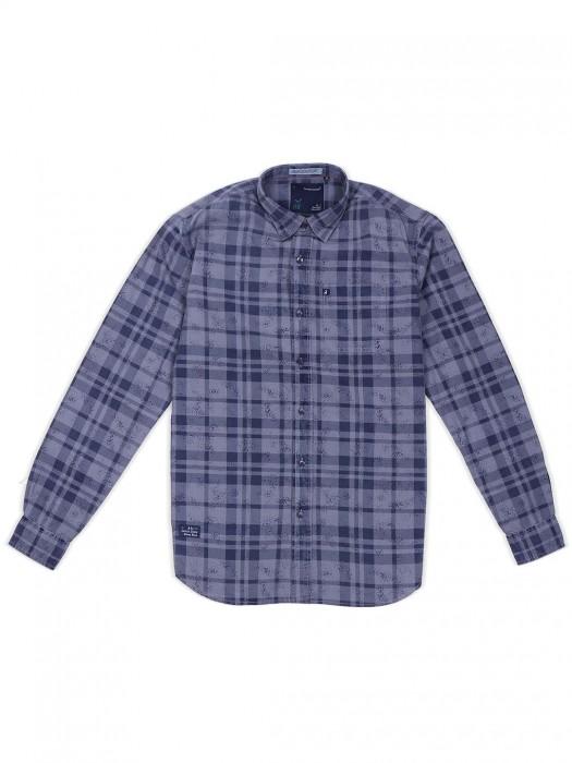 River Blue Grey Checks Pattern Shirt