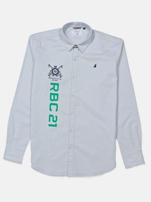 River Blue Grey Printed Cotton Shirt