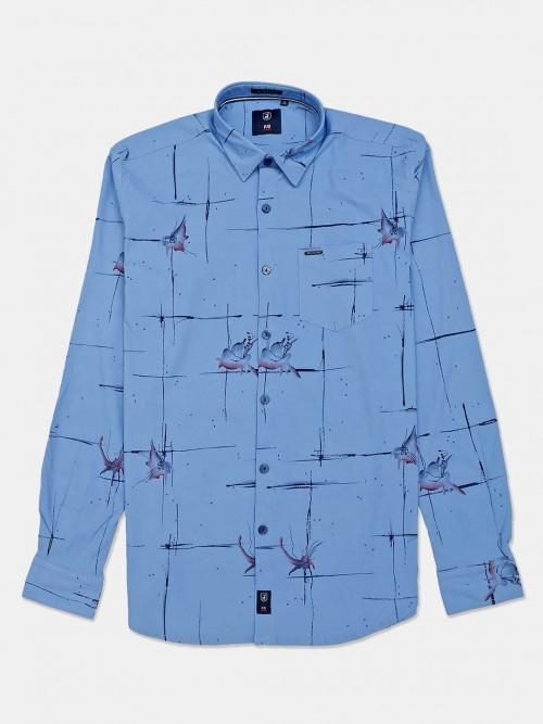 River Blue Half Sleeves Blue Printed Shirt