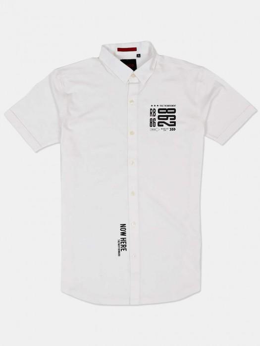 River Blue Half Sleeves White Printed Shirt
