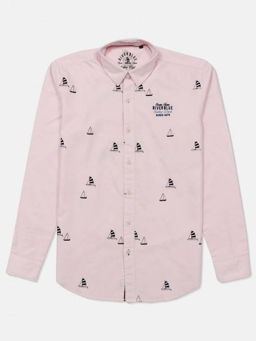 River Blue Light Pink Printed Shirt