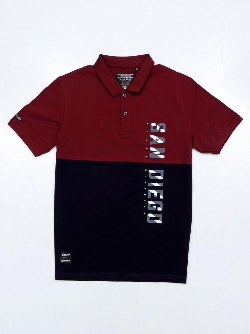 River Blue Maroon Printed Polo Polo T-shirt