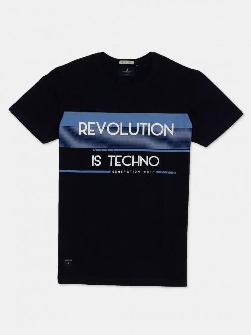 River Blue Navy Printed Neck Cotton T-shirt