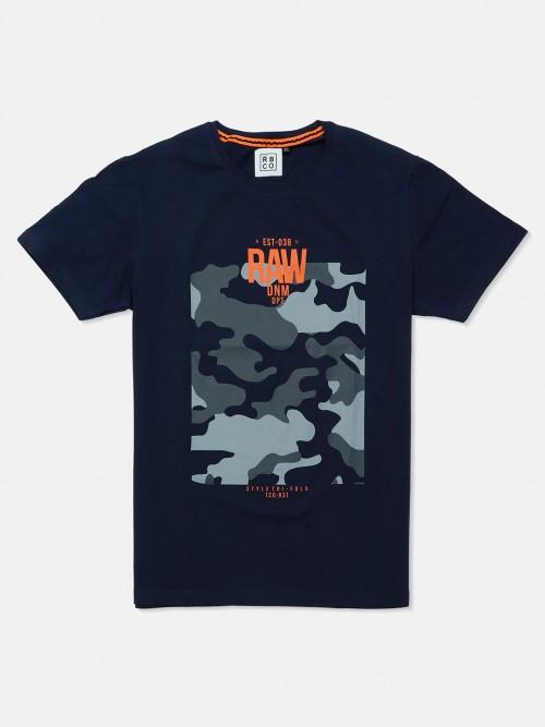 River Blue Navy Printed Round Neck T-shirt