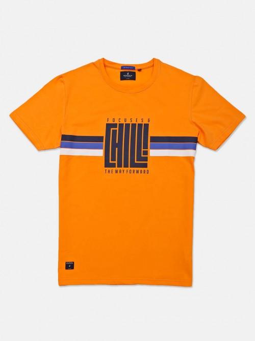 River Blue Presented Orange Printed T-shirt