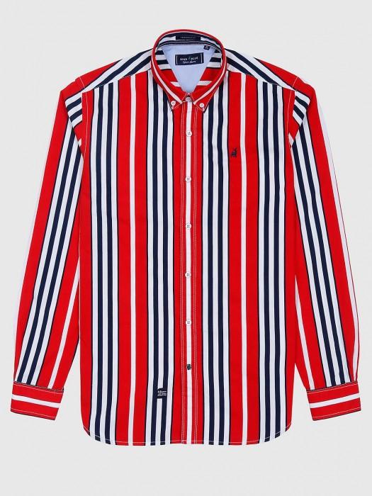 River Blue Red Stripe Pattern Cotton Shirt