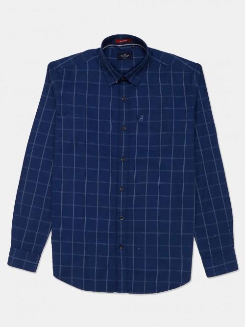 River Blue Royal Blue Checks Full Sleeves Shirt