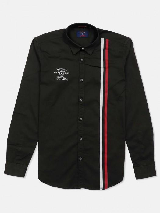 River Blue Stripe Olive Slim Fit Shirt