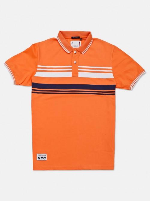 River Blue Stripe Orange Casual T-shirt