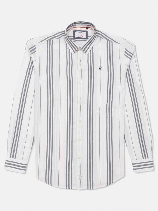 River Blue Stripe White Apple Cut Hem Shirt