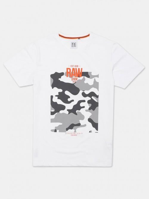 River Blue White Printed Slim Fit T-shirt