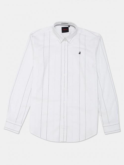 River Blue White Stripe Cotton Slim Collar Shirt