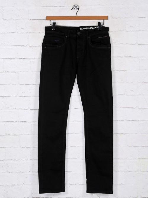 Rookies Solid Black Denim Jeans