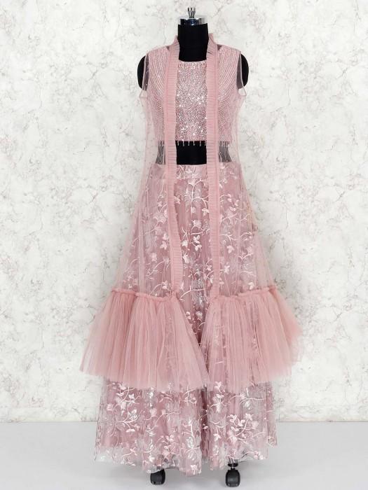 Rose Pink Colored Jecket Style Net Lehenga Choli