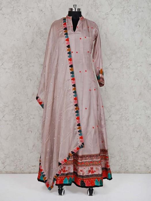 Rose Pink Floor Length Cotton Silk Anarkali Suit