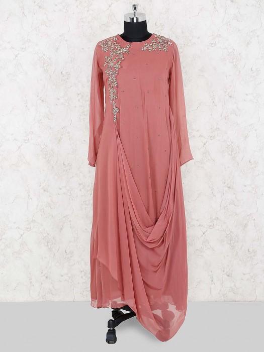 Rose Pink Georgette Cowl Style Indo Western Salwar Suit