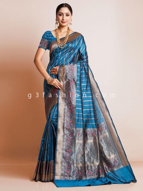 Roya Blue Wedding Saree In Pure Silk