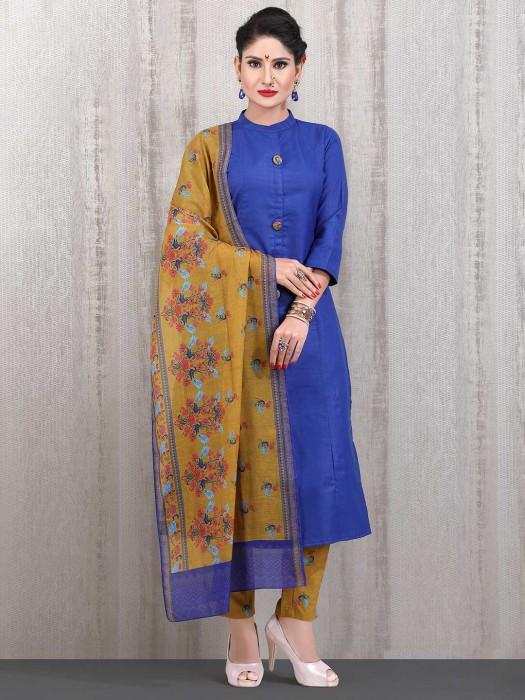 Royal Blue Cotton Casual Wear Straight Cut Punjabi Pant Suit